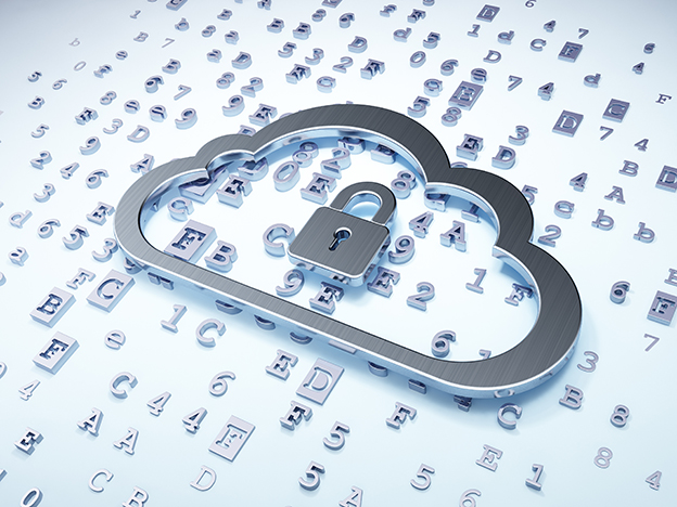 Cloud networking concept: Silver Cloud With Padlock on digital background, 3d render